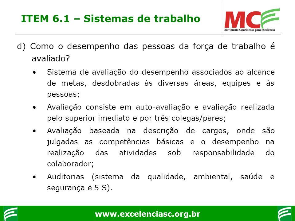 www.excelenciasc.org.br d) Como o desempenho das pessoas da força de trabalho é avaliado? Sistema de avaliação do desempenho associados ao alcance de