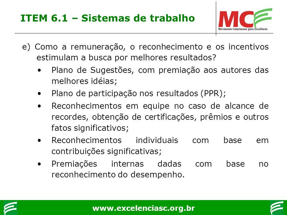 www.excelenciasc.org.br e) Como a remuneração, o reconhecimento e os incentivos estimulam a busca por melhores resultados? Plano de Sugestões, com pre