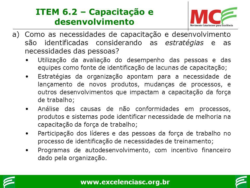 www.excelenciasc.org.br ITEM 6.2 – Capacitação e desenvolvimento a)Como as necessidades de capacitação e desenvolvimento são identificadas considerand