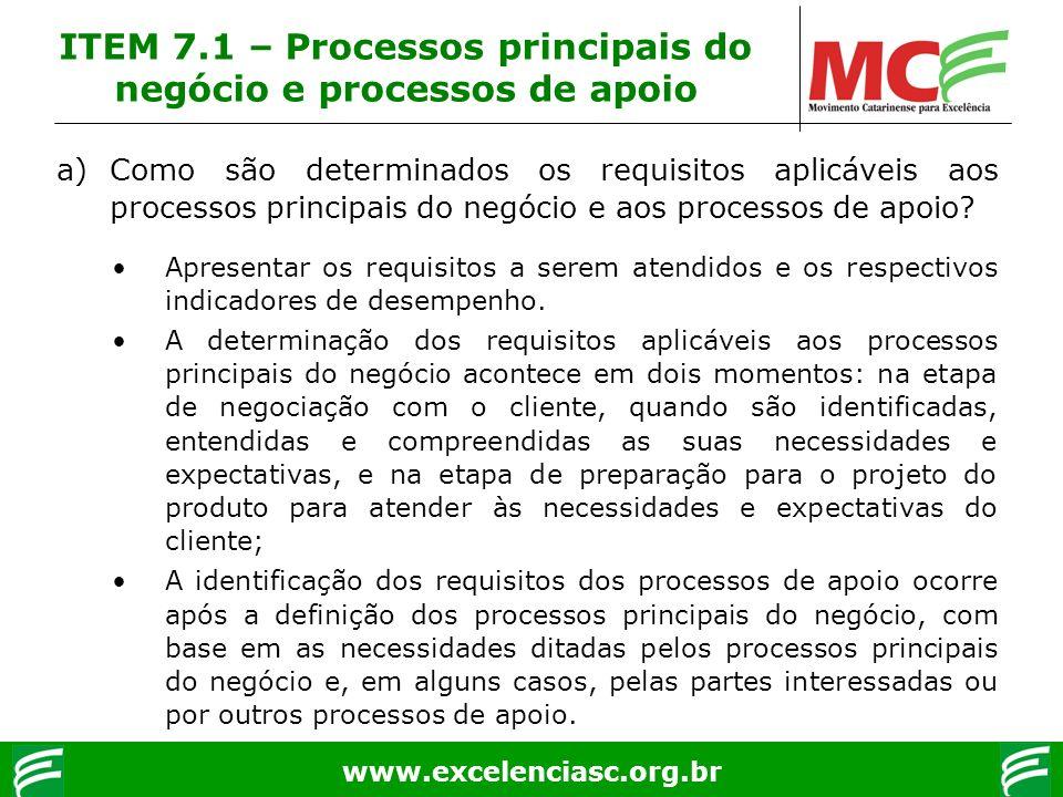 www.excelenciasc.org.br ITEM 7.1 – Processos principais do negócio e processos de apoio a)Como são determinados os requisitos aplicáveis aos processos