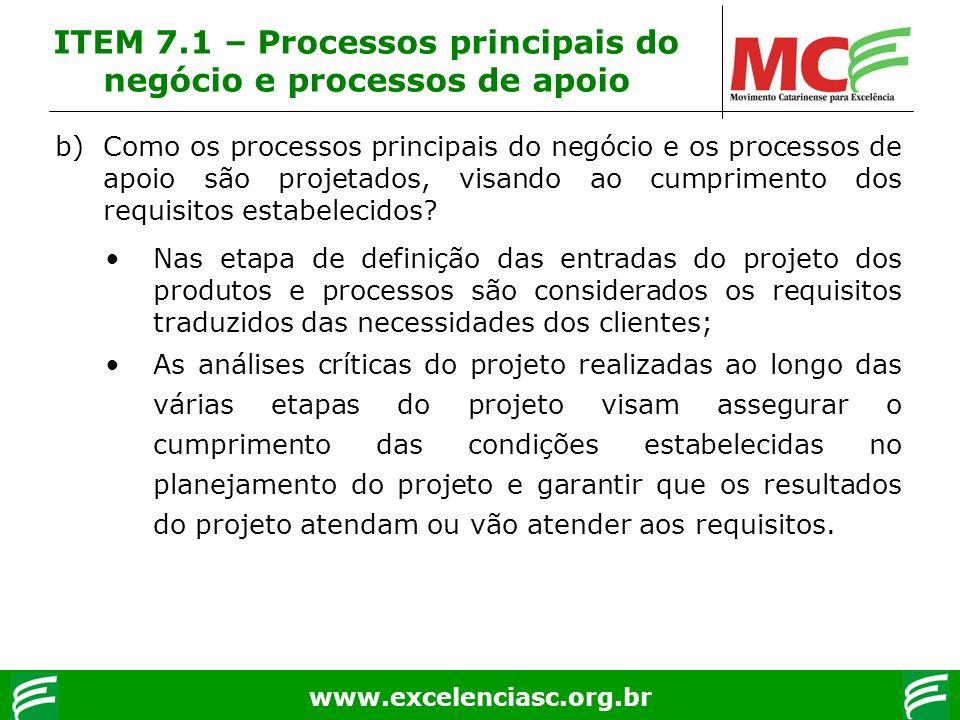 www.excelenciasc.org.br b)Como os processos principais do negócio e os processos de apoio são projetados, visando ao cumprimento dos requisitos estabe