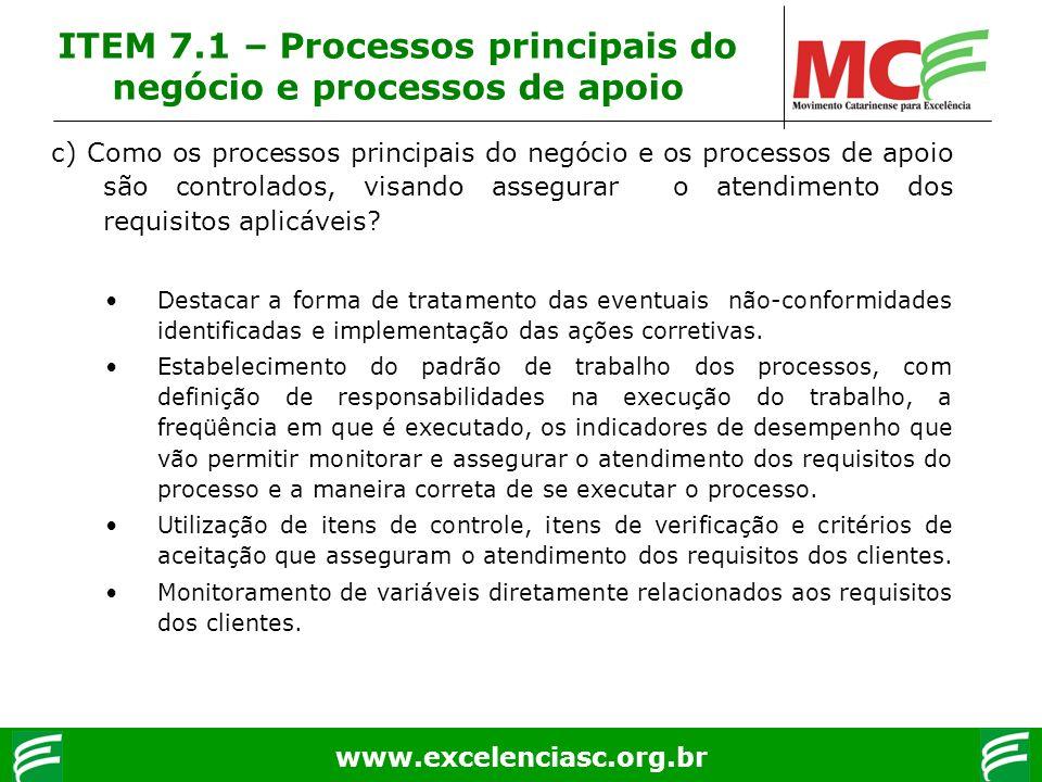 www.excelenciasc.org.br c) Como os processos principais do negócio e os processos de apoio são controlados, visando assegurar o atendimento dos requis
