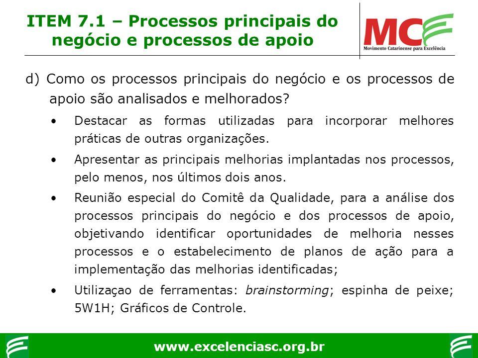 www.excelenciasc.org.br d) Como os processos principais do negócio e os processos de apoio são analisados e melhorados? Destacar as formas utilizadas