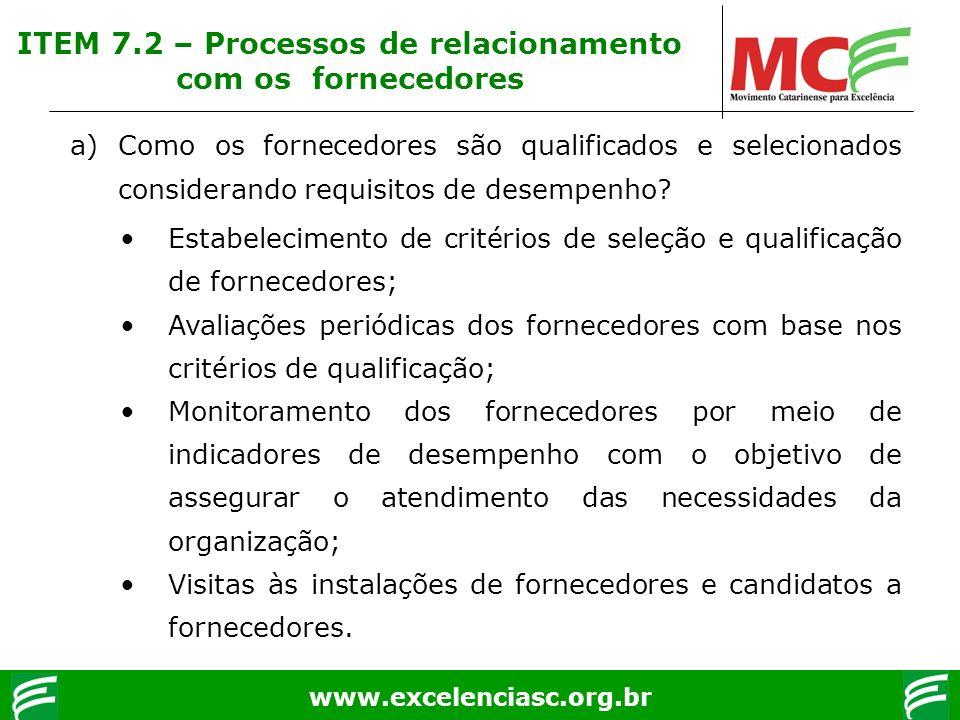 www.excelenciasc.org.br ITEM 7.2 – Processos de relacionamento com os fornecedores a)Como os fornecedores são qualificados e selecionados considerando
