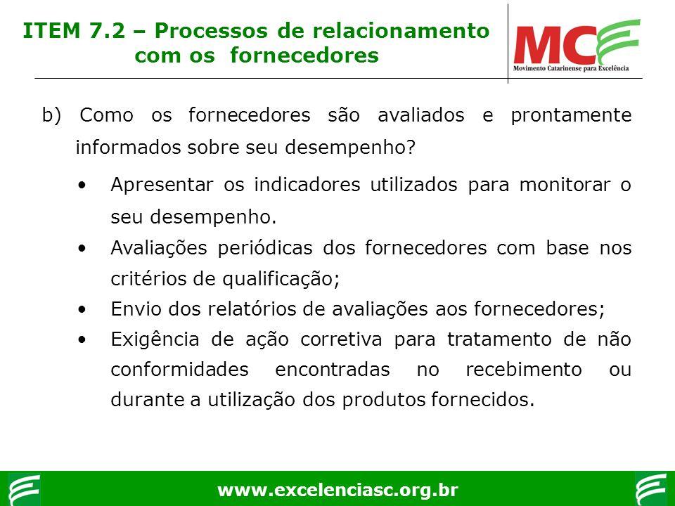 www.excelenciasc.org.br b) Como os fornecedores são avaliados e prontamente informados sobre seu desempenho? Apresentar os indicadores utilizados para