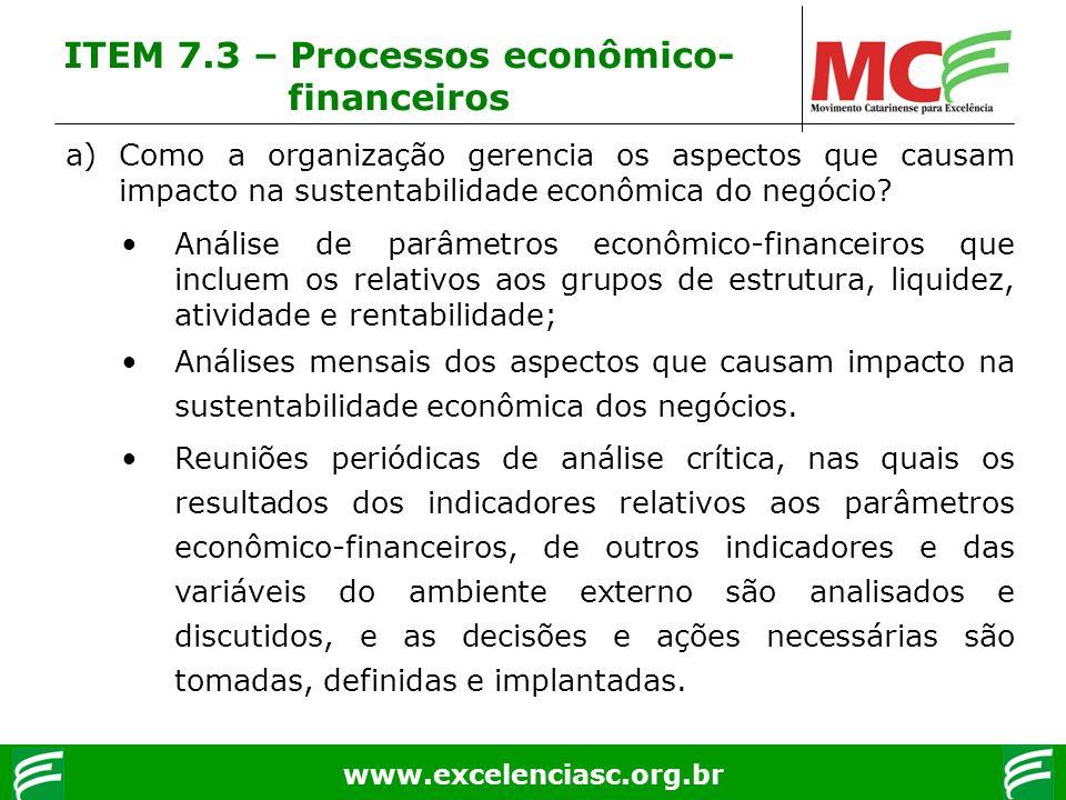 www.excelenciasc.org.br ITEM 7.3 – Processos econômico- financeiros a)Como a organização gerencia os aspectos que causam impacto na sustentabilidade e