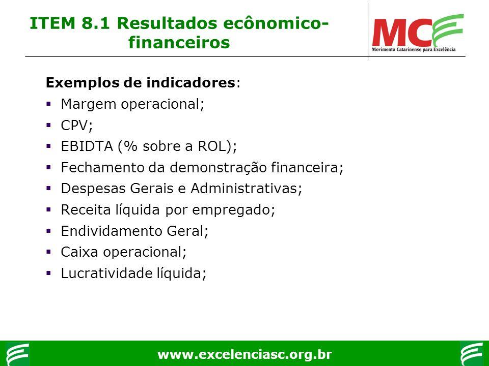 www.excelenciasc.org.br ITEM 8.1 Resultados ecônomico- financeiros Exemplos de indicadores: Margem operacional; CPV; EBIDTA (% sobre a ROL); Fechament