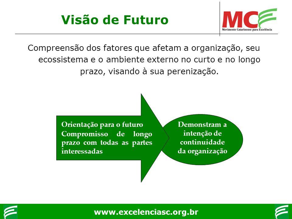 www.excelenciasc.org.br Demonstram a intenção de continuidade da organização Visão de Futuro Compreensão dos fatores que afetam a organização, seu eco