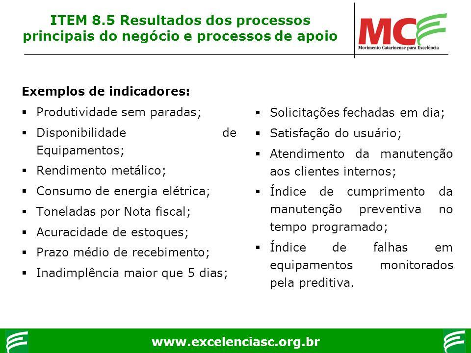 www.excelenciasc.org.br Exemplos de indicadores: Produtividade sem paradas; Disponibilidade de Equipamentos; Rendimento metálico; Consumo de energia e