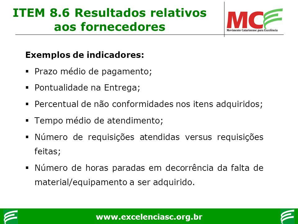 www.excelenciasc.org.br Exemplos de indicadores: Prazo médio de pagamento; Pontualidade na Entrega; Percentual de não conformidades nos itens adquirid