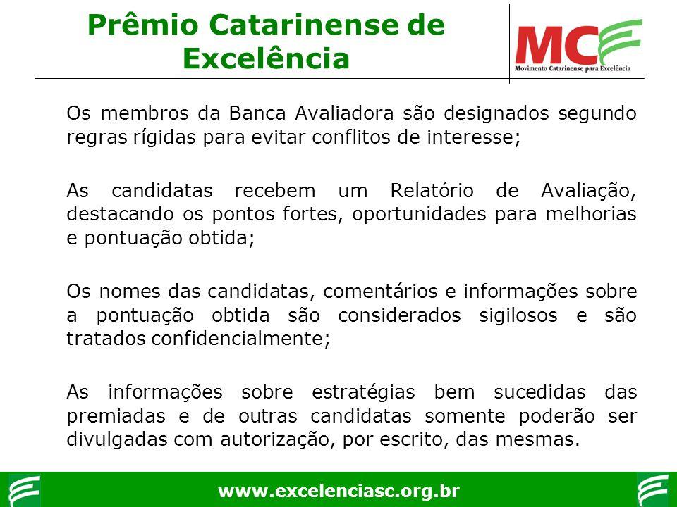 www.excelenciasc.org.br Os membros da Banca Avaliadora são designados segundo regras rígidas para evitar conflitos de interesse; As candidatas recebem