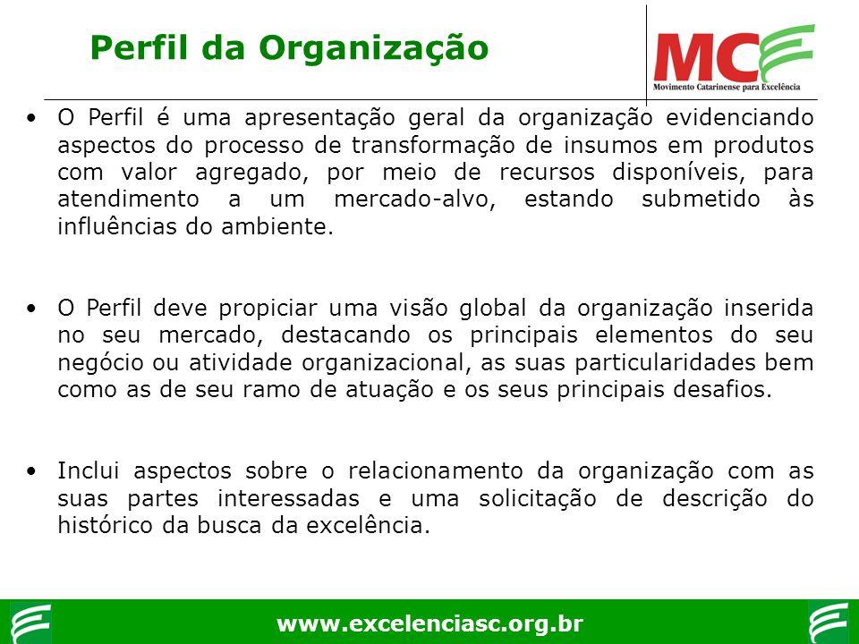 www.excelenciasc.org.br Perfil da Organização O Perfil é uma apresentação geral da organização evidenciando aspectos do processo de transformação de i