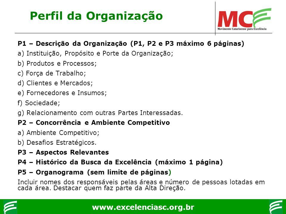 www.excelenciasc.org.br P1 – Descrição da Organização (P1, P2 e P3 máximo 6 páginas) a) Instituição, Propósito e Porte da Organização; b) Produtos e P