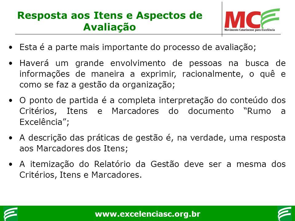 www.excelenciasc.org.br Resposta aos Itens e Aspectos de Avaliação Esta é a parte mais importante do processo de avaliação; Haverá um grande envolvime