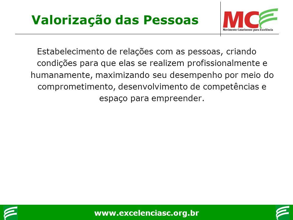 www.excelenciasc.org.br Valorização das Pessoas Estabelecimento de relações com as pessoas, criando condições para que elas se realizem profissionalme