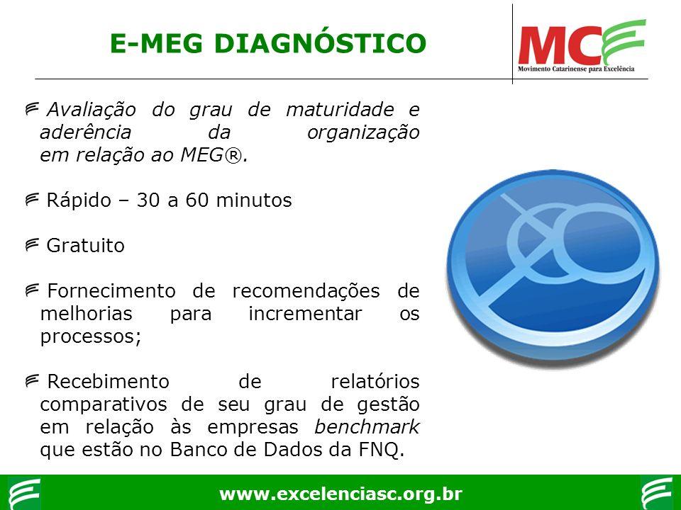 www.excelenciasc.org.br E-MEG DIAGNÓSTICO Avaliação do grau de maturidade e aderência da organização em relação ao MEG®. Rápido – 30 a 60 minutos Grat