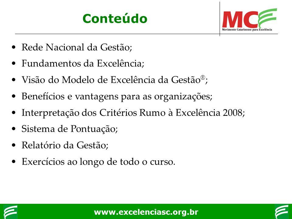 www.excelenciasc.org.br Rede Nacional da Gestão; Fundamentos da Excelência; Visão do Modelo de Excelência da Gestão ® ; Benefícios e vantagens para as