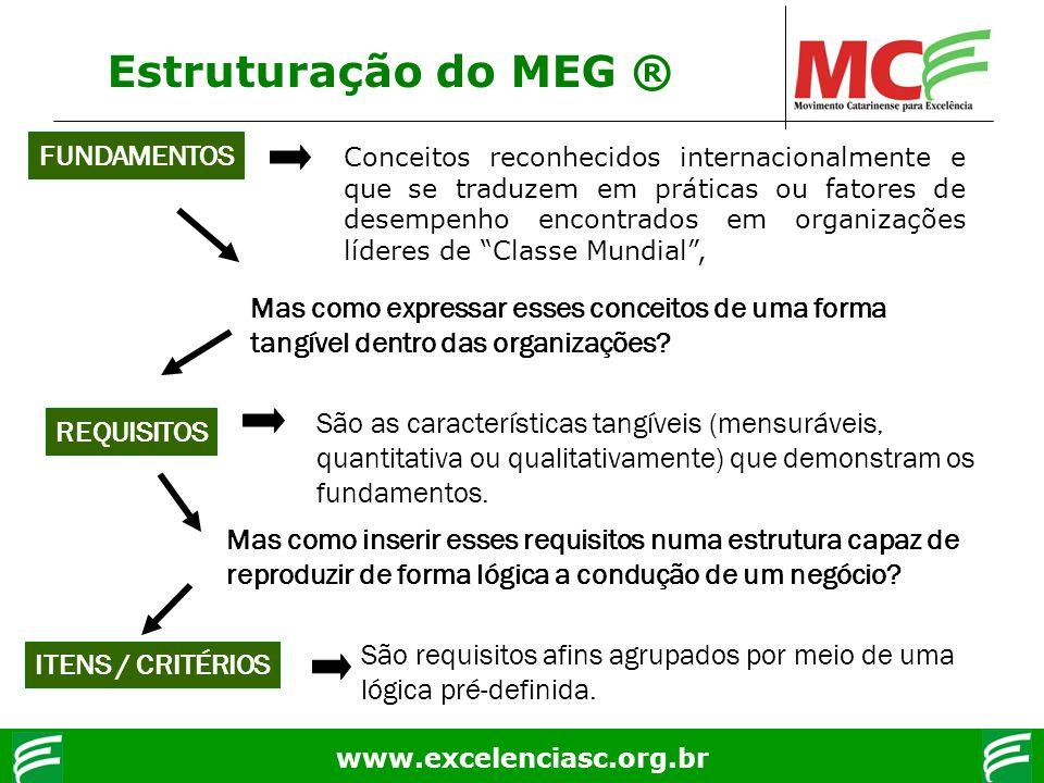 www.excelenciasc.org.br Estruturação do MEG ® FUNDAMENTOS Conceitos reconhecidos internacionalmente e que se traduzem em práticas ou fatores de desemp