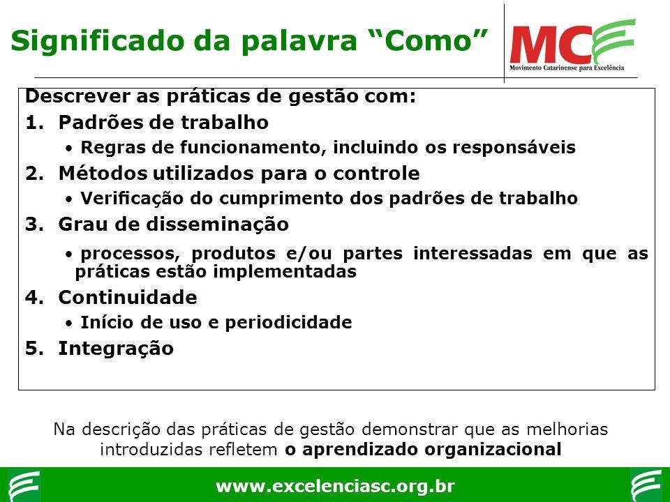 www.excelenciasc.org.br Descrever as práticas de gestão com: 1.Padrões de trabalho Regras de funcionamento, incluindo os responsáveis 2.Métodos utiliz
