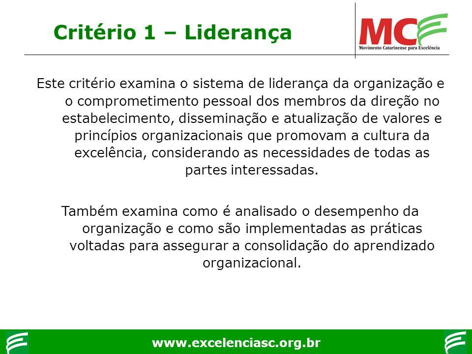 www.excelenciasc.org.br Critério 1 – Liderança Este critério examina o sistema de liderança da organização e o comprometimento pessoal dos membros da