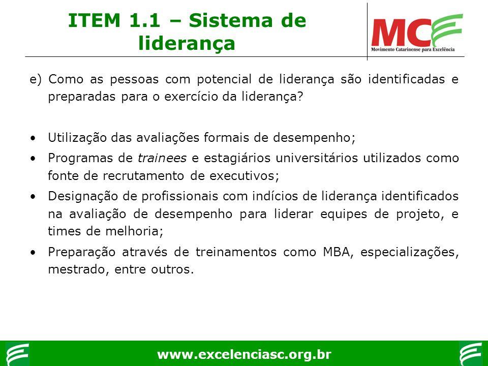 www.excelenciasc.org.br e) Como as pessoas com potencial de liderança são identificadas e preparadas para o exercício da liderança? Utilização das ava