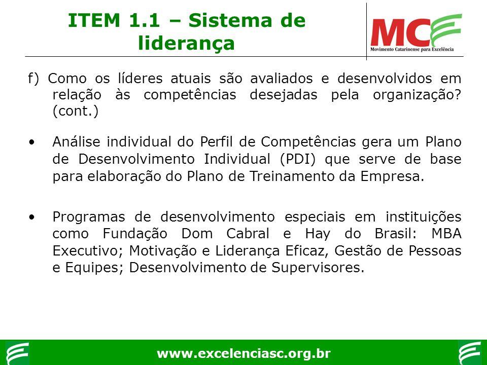 www.excelenciasc.org.br f) Como os líderes atuais são avaliados e desenvolvidos em relação às competências desejadas pela organização? (cont.) Análise
