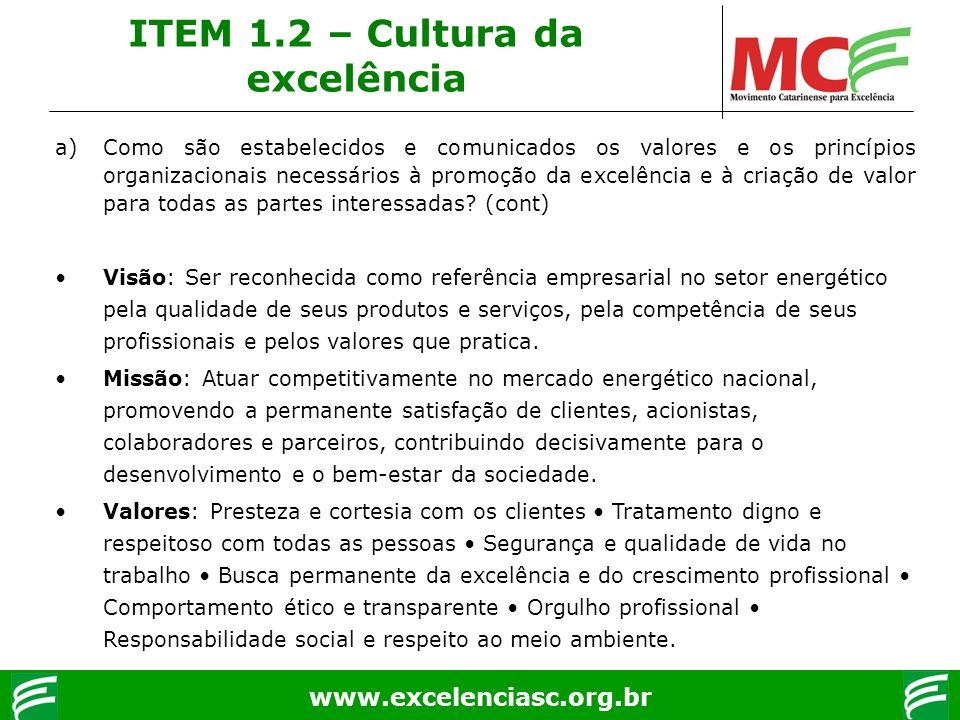 www.excelenciasc.org.br a)Como são estabelecidos e comunicados os valores e os princípios organizacionais necessários à promoção da excelência e à cri