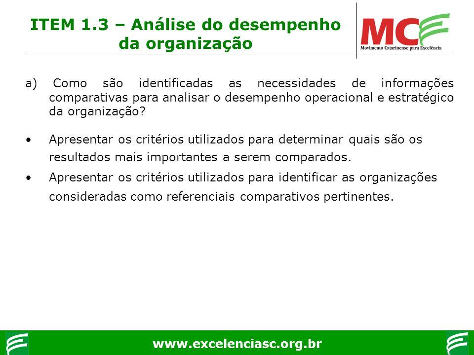 www.excelenciasc.org.br ITEM 1.3 – Análise do desempenho da organização a) Como são identificadas as necessidades de informações comparativas para ana
