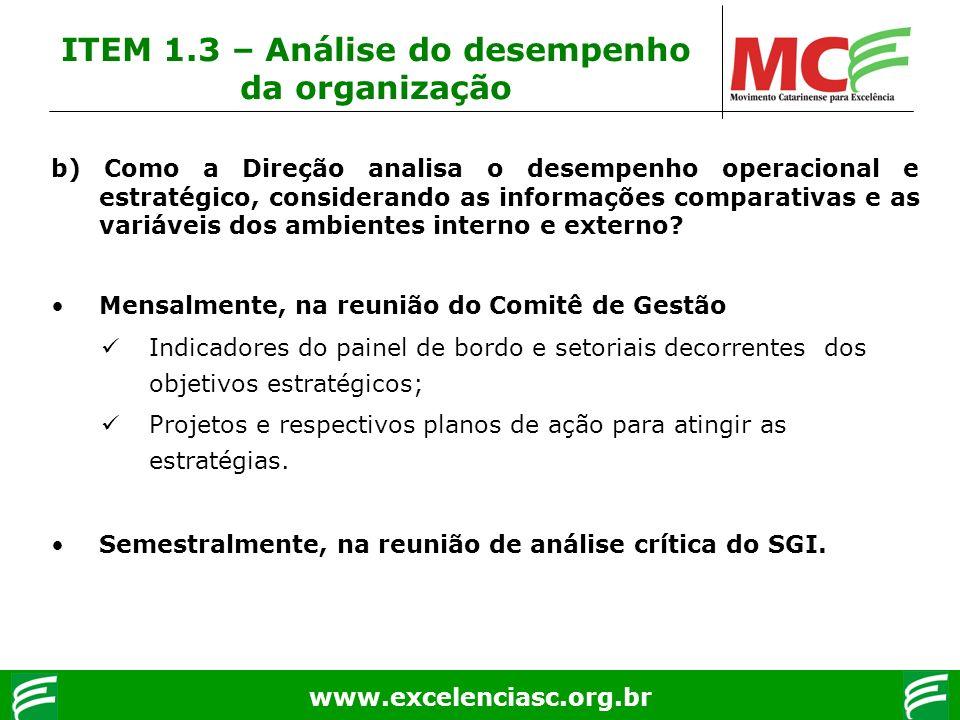 www.excelenciasc.org.br ITEM 1.3 – Análise do desempenho da organização b) Como a Direção analisa o desempenho operacional e estratégico, considerando