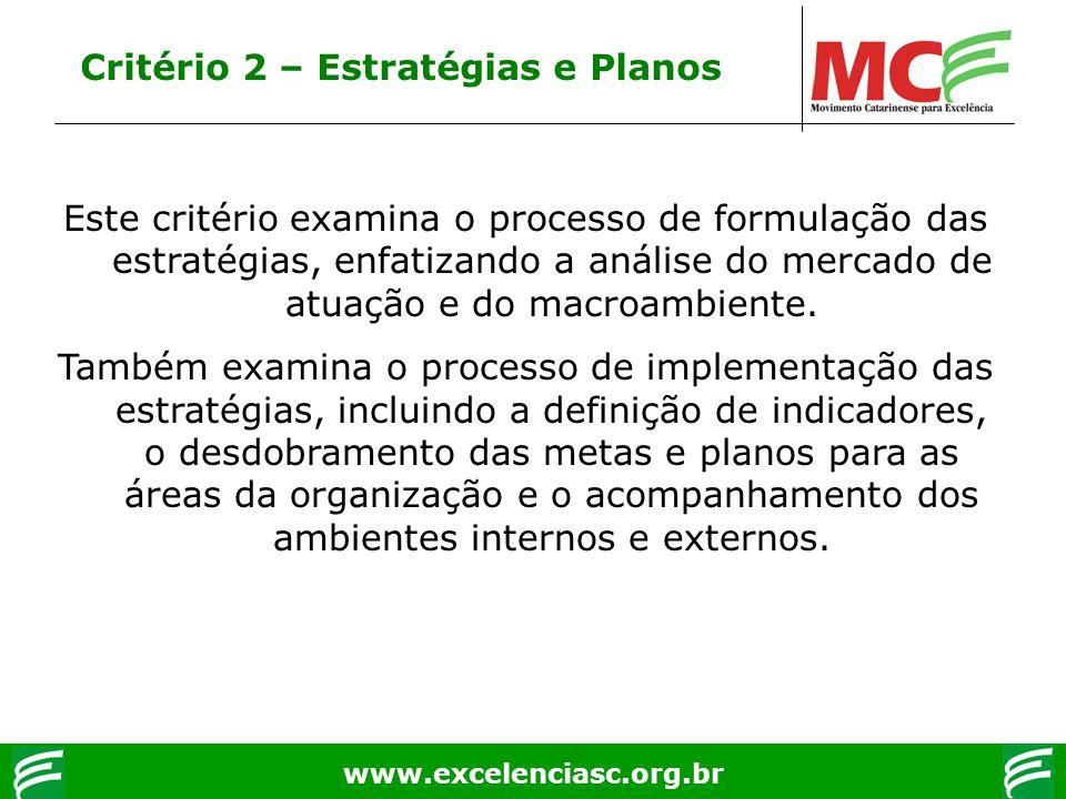 www.excelenciasc.org.br Critério 2 – Estratégias e Planos Este critério examina o processo de formulação das estratégias, enfatizando a análise do mer