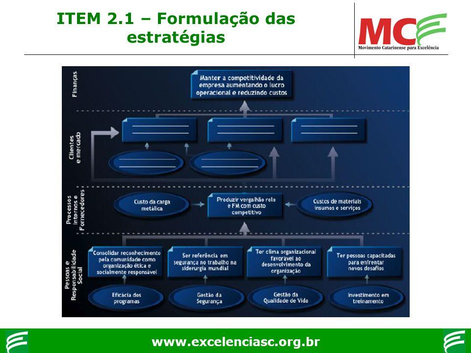 www.excelenciasc.org.br ITEM 2.1 – Formulação das estratégias