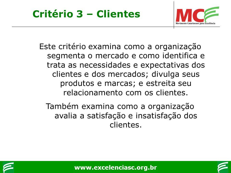 www.excelenciasc.org.br Critério 3 – Clientes Este critério examina como a organização segmenta o mercado e como identifica e trata as necessidades e