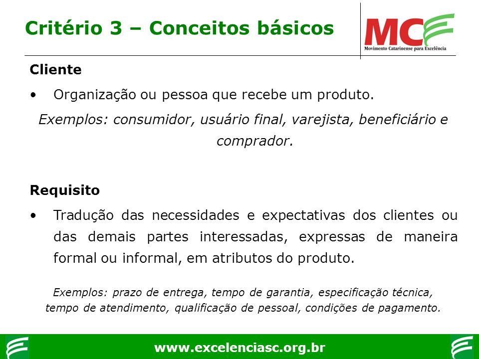 www.excelenciasc.org.br Critério 3 – Conceitos básicos Cliente Organização ou pessoa que recebe um produto. Exemplos: consumidor, usuário final, varej