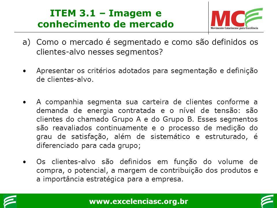 www.excelenciasc.org.br ITEM 3.1 – Imagem e conhecimento de mercado a)Como o mercado é segmentado e como são definidos os clientes-alvo nesses segment