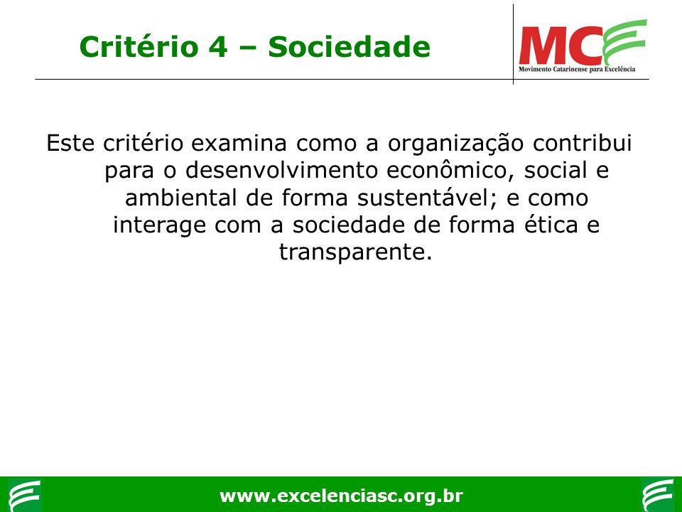 www.excelenciasc.org.br Critério 4 – Sociedade Este critério examina como a organização contribui para o desenvolvimento econômico, social e ambiental