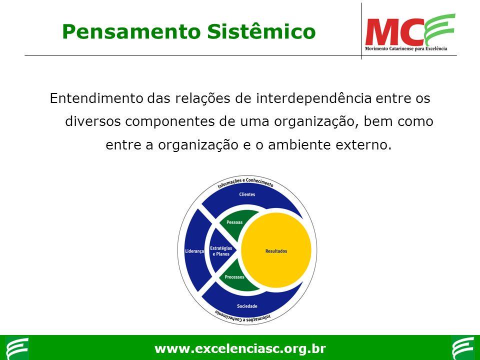 www.excelenciasc.org.br Pensamento Sistêmico Entendimento das relações de interdependência entre os diversos componentes de uma organização, bem como