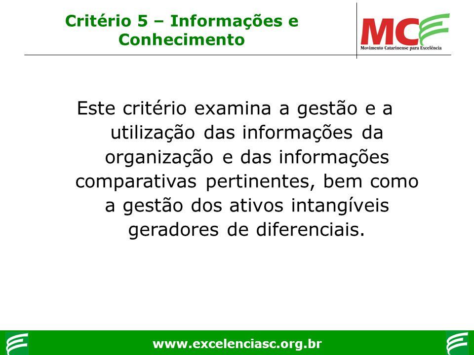 www.excelenciasc.org.br Critério 5 – Informações e Conhecimento Este critério examina a gestão e a utilização das informações da organização e das inf