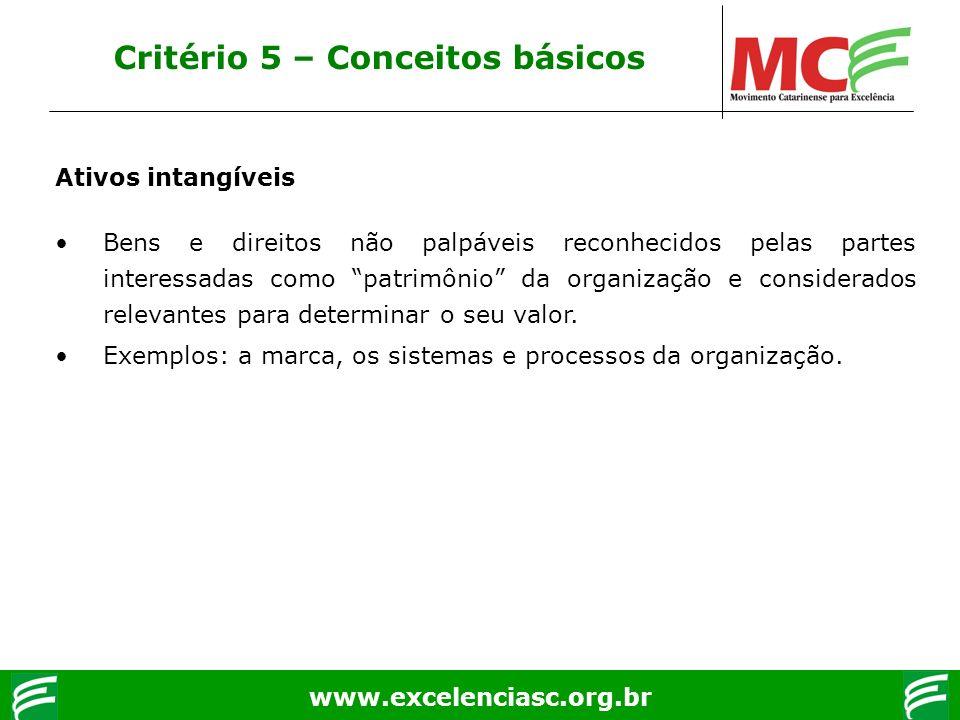www.excelenciasc.org.br Ativos intangíveis Bens e direitos não palpáveis reconhecidos pelas partes interessadas como patrimônio da organização e consi