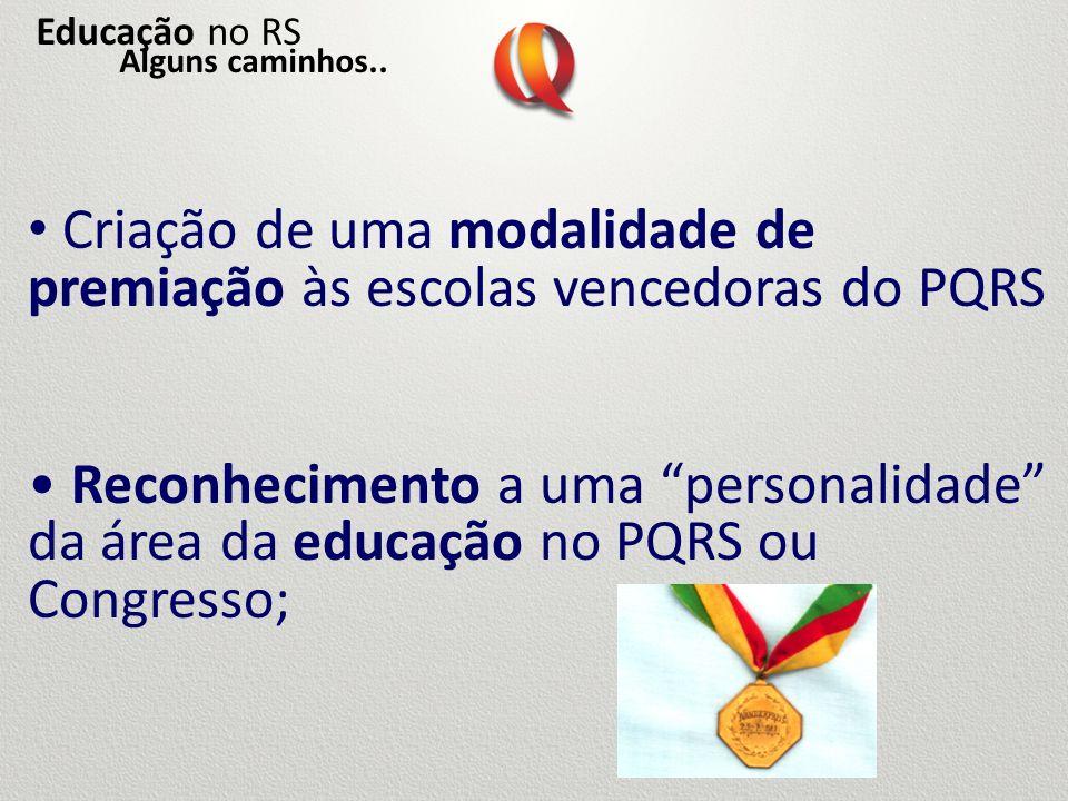 Criação de uma modalidade de premiação às escolas vencedoras do PQRS Reconhecimento a uma personalidade da área da educação no PQRS ou Congresso; Educ