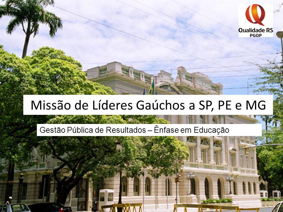 Missão de Líderes Gaúchos a SP, PE e MG Gestão Pública de Resultados – Ênfase em Educação