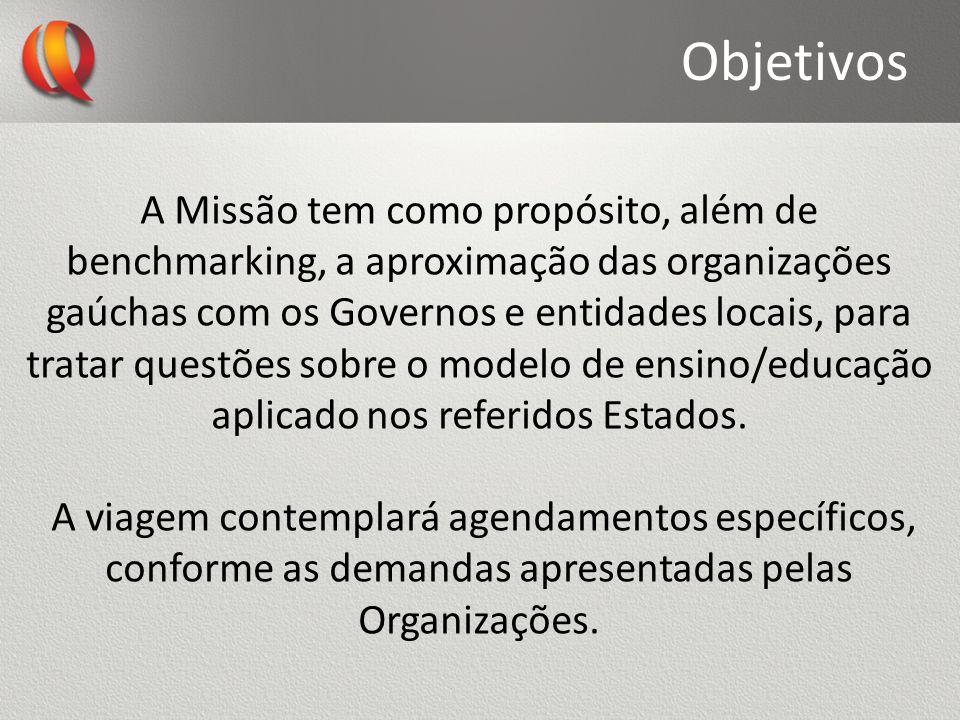 Objetivos A Missão tem como propósito, além de benchmarking, a aproximação das organizações gaúchas com os Governos e entidades locais, para tratar qu