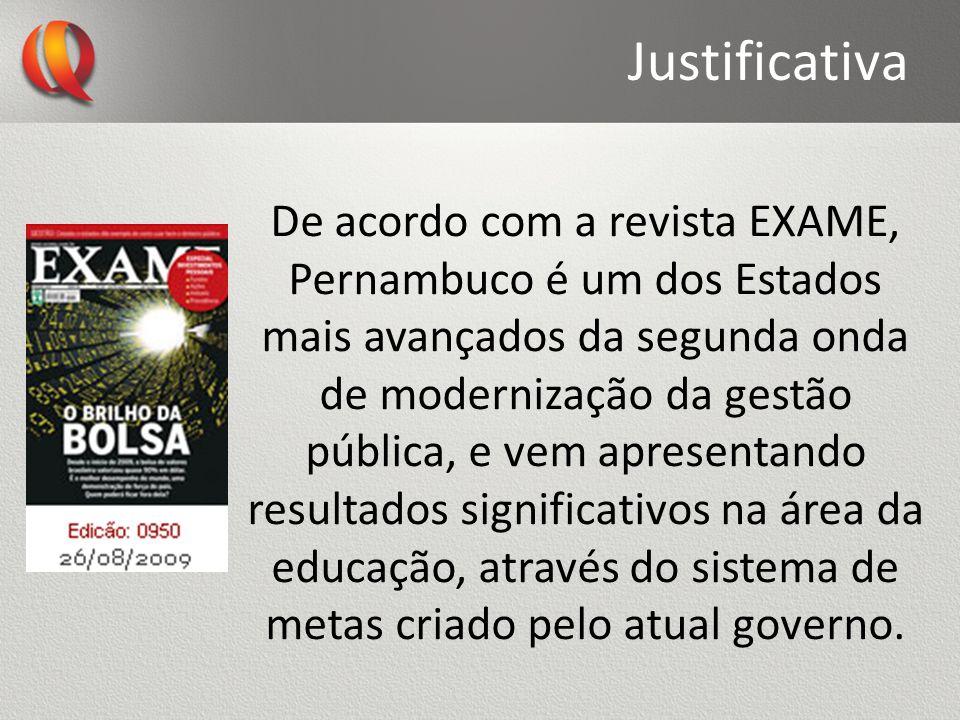 Justificativa De acordo com a revista EXAME, Pernambuco é um dos Estados mais avançados da segunda onda de modernização da gestão pública, e vem apres