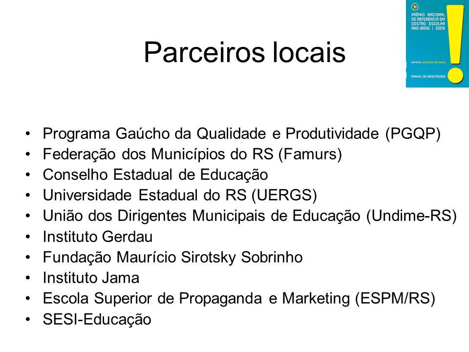 Programa Gaúcho da Qualidade e Produtividade (PGQP) Federação dos Municípios do RS (Famurs) Conselho Estadual de Educação Universidade Estadual do RS