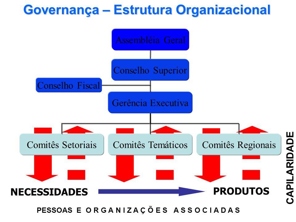 PRODUTOS NECESSIDADES CAPILARIDADE Assembléia Geral Conselho Superior Gerência Executiva Conselho Fiscal Comitês RegionaisComitês TemáticosComitês Set