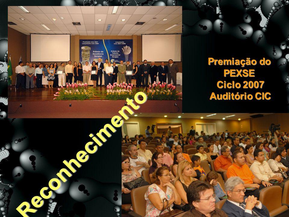 >20<=50% 100% Reconhecimento Premiação do PEXSE Ciclo 2007 Ciclo 2007 Auditório CIC Auditório CIC