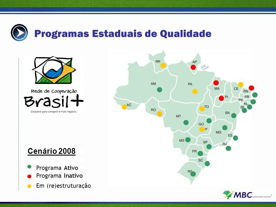 Programa Inativo Programa Ativo Em (re)estruturação Programas Estaduais de Qualidade Cenário 2008