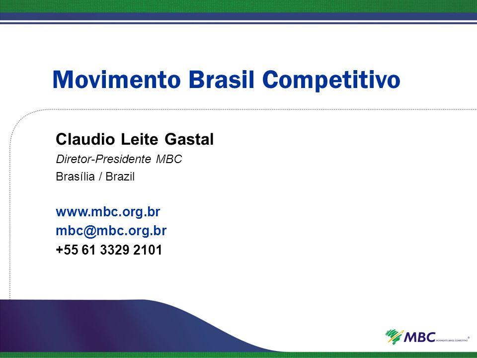 Movimento Brasil Competitivo Claudio Leite Gastal Diretor-Presidente MBC Brasília / Brazil www.mbc.org.br mbc@mbc.org.br +55 61 3329 2101