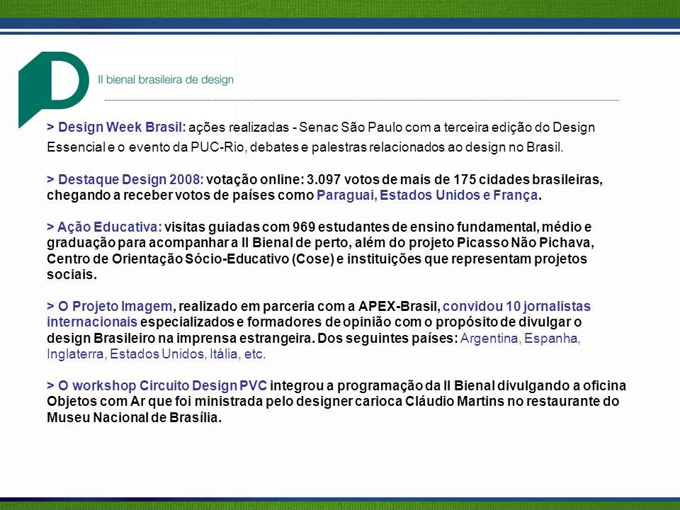 > Design Week Brasil: ações realizadas - Senac São Paulo com a terceira edição do Design Essencial e o evento da PUC-Rio, debates e palestras relacionados ao design no Brasil.