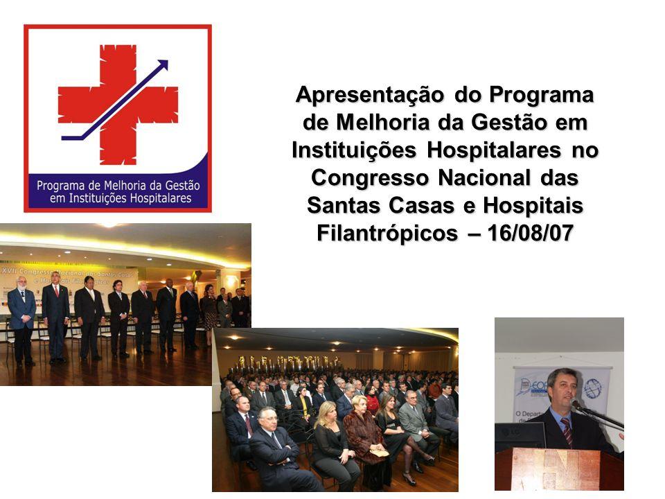 Apresentação do Programa de Melhoria da Gestão em Instituições Hospitalares no Congresso Nacional das Santas Casas e Hospitais Filantrópicos – 16/08/0