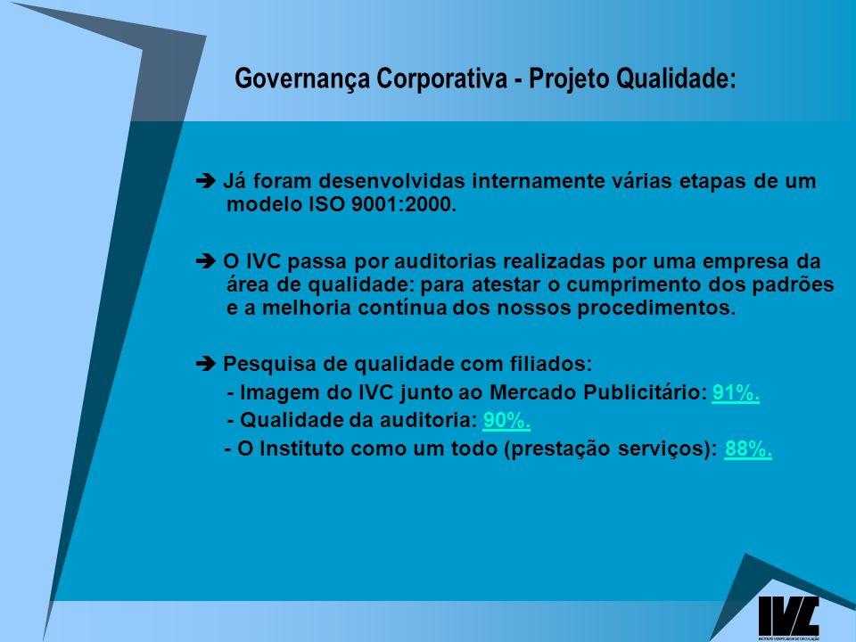 Governança Corporativa - Projeto Qualidade: Já foram desenvolvidas internamente várias etapas de um modelo ISO 9001:2000.